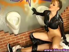 Messy slime bukkake slut fucked at the gloryhole