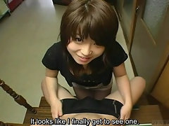 Shy Japanese virgin first kiss and handjob subtitled