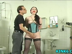 Babe gets tits pinched