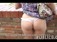 Hot ass amateur student fucked in public for money