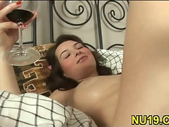 Babe is caressing penis