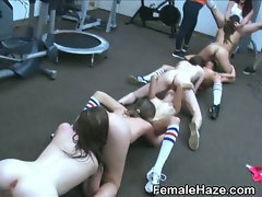 Lesbian Amateur Girls Eating Pussy In Line At Hazing Party