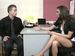 Sexy goddess in glasses Tori Black gets fucked by a coworker in her office