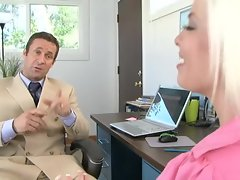 Britney Amber the cute chic gets hammered in the cunt at the office