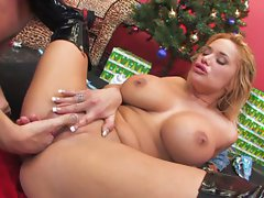 Big boner fucks the shaved pussy of Shyla Stylez in a Santa outfit