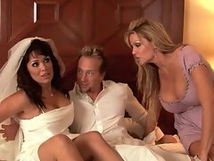 Here comes the bride! Watch Sienna West & Kelly Madison have a wedding day orgy