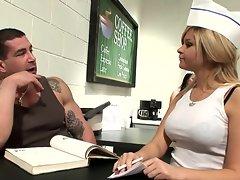 Sexy waitress Alexa Von Tess enjoys a threeway fuck