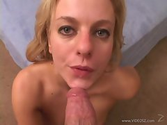 Angela Stone gets her face drizzled with warm cum