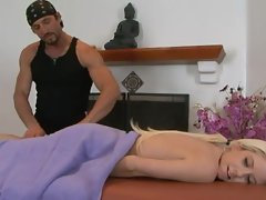 Tessa Taylor's hot masseur gives her muscles a workout