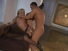 She's too hot in her stockings. Amy Brooke spreads her pussylips