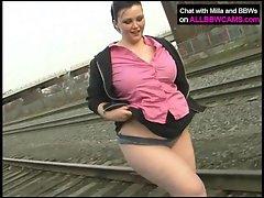 Fat princess gets nude on railway