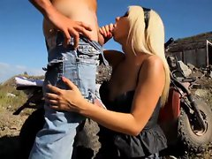 Jazy Berlin gets her pussy filled with full load from unknown biker