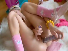 Drilled nympho with huge dildo in ass