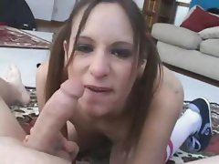 Young Pigtailed Brunnette Sucks Dick