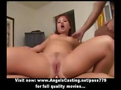 Sexy redhead in threesome riding and sucking cock and getting cumshot