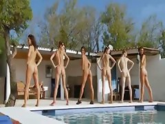 Six naked girls by the pool from germany