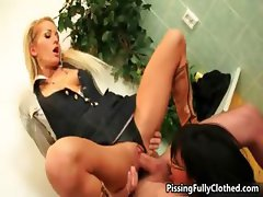 Hot blond girl riding hard cock
