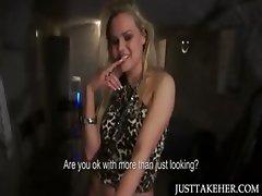 Blonde amateur shows sexy assets