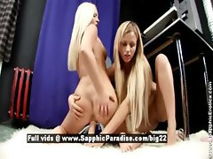 Ingrid and Larissa blonde lesbo toying pussy
