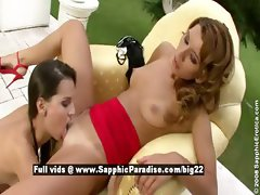 Daphne and Bety lesbo girls with hight heels have sex outdoor