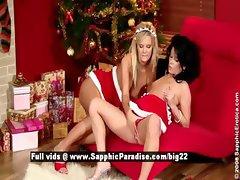 Cameron and Jess sexy lesbo girl sex near Christmas tree