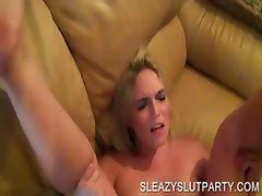 Blonde hoe gets pussy nailed in close-up