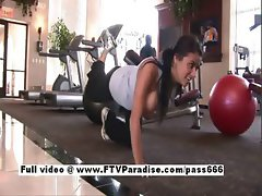 Superb brunette slut in fitness