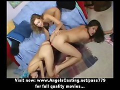 Hot lesbian threesome with toying pussy by glass dildo and sharing it