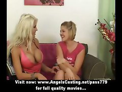 Amazingly sexy busty lesbians undressing and licking tits and pussy