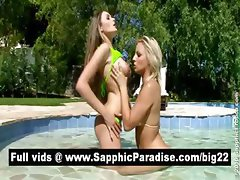 Sensual blonde lesbos licking pussy and having lesbo sex by the pool