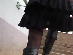 Stockings Upskirt upstair outdoor