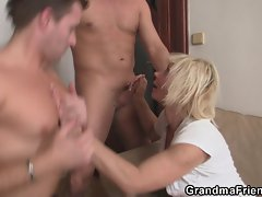 She gets pleased by two big rods