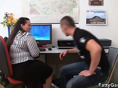 Obese office young lady must fuck her client