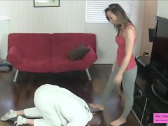 Attractive Tiny Student Ballbusting in Leggings Preview