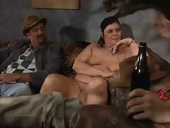 Plumper gal licks and gets fingered in butt