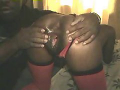 Slutty ebony saucy teen accepts huge rubber toy and prick in her twat 1 of 2