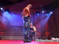 Male striper gives lewd lap dance