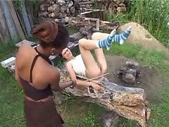 Freaks of Nature 137 Scinny Young woman and the Cane