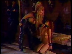 3 big tit lesbos in BDSM activity while a lad watches on