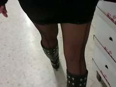 shopping in stockings with seams