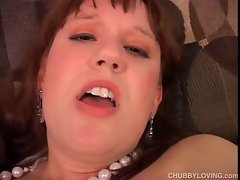 Fatty mega big melons amateur in stockings has a fatty dewy snatch
