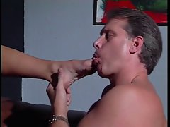 Dark haired foot screws elder stud's prick