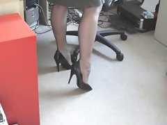 Sexy Blonde in Stockings Teases Over the Phone
