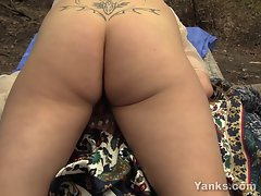 Crazy Lonely Chick Humps a Picnic Table, and CUMS!