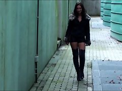 Julie skyhigh&amp,#039,s sexy thigh high boots &amp, leather mini short