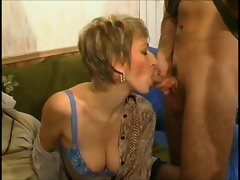 French milf and three guys