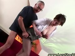 Mature stocking brit oral and fuck