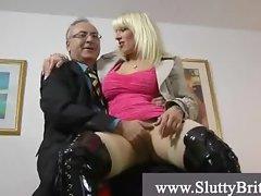Old man picks up slut in the alley