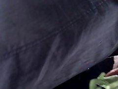Girl in denim dress with a umbrella pistachio