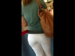 Ass - Cute Girl In White Tight Jeans waiting at Mc Donald